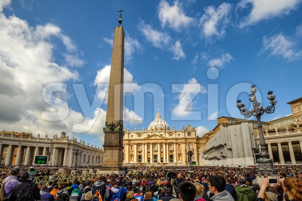 Vatican City, Vatican - April 03: People gathering for Pope's audience and prayer on catholic Easter holidays in front of ...
