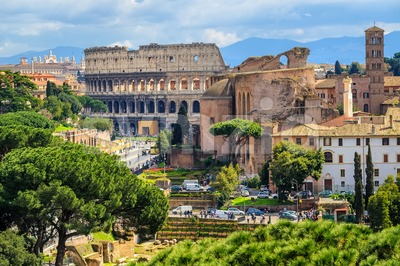 Forum Romanum and Colosseum in the Old Town of Rome, Italy Stock Photo