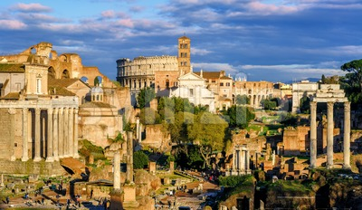 Ruins of Forum Romanum and Colosseum, Rome, Italy Stock Photo