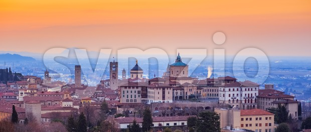 Bergamo Old Town, Lombardy, Italy, in red sunrise light Stock Photo