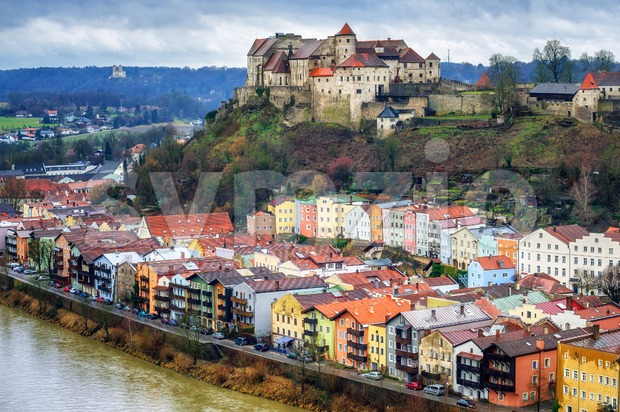 Burghausen, historical german town in Bavaria near Salzburg Stock Photo