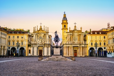 Turin city, Piazza San Carlo on sunrise, Italy Stock Photo