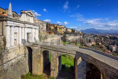 Porta San Giacomo gate, Old Town Bergamo, Italy Stock Photo