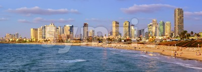 Modern skyline of Tel Aviv city at evening, Israel Stock Photo