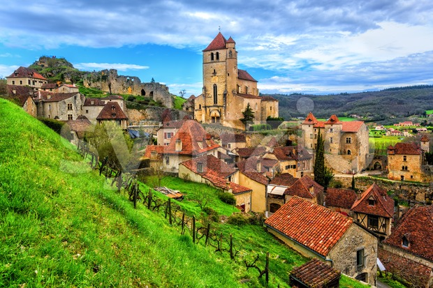 Saint-Cirq-Lapopie, one of the most beautiful villages of France Stock Photo