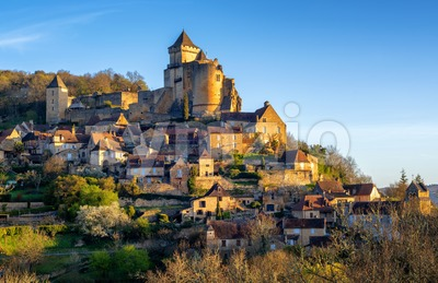 Medieval Castelnaud village and castle, Perigord, France Stock Photo