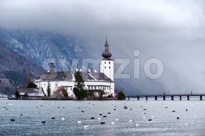Monastery on the island of alpine lake in Gmunden by Salzburg, Austria Stock Photo
