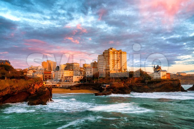 Old Port of Biarritz, atlantic coast, France, in dramatic sunset light