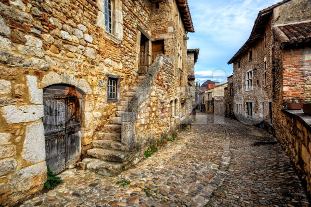 Perouges, a medieval walled old town near Lyon, France, one of the most beautiful villages of France (Les plus beaux ...