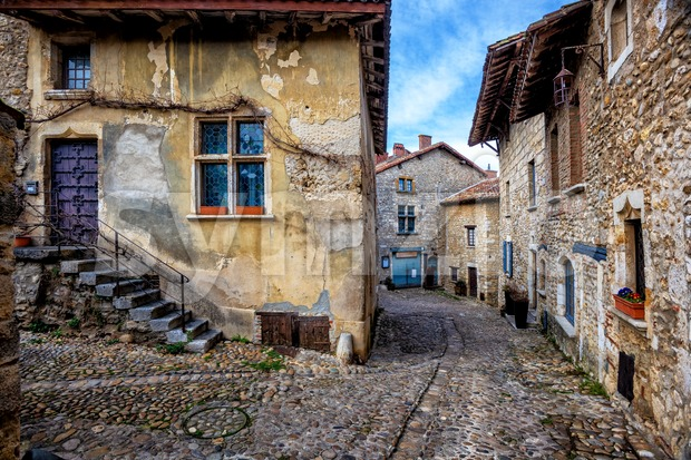 Perouges, a medieval old town near Lyon, France Stock Photo