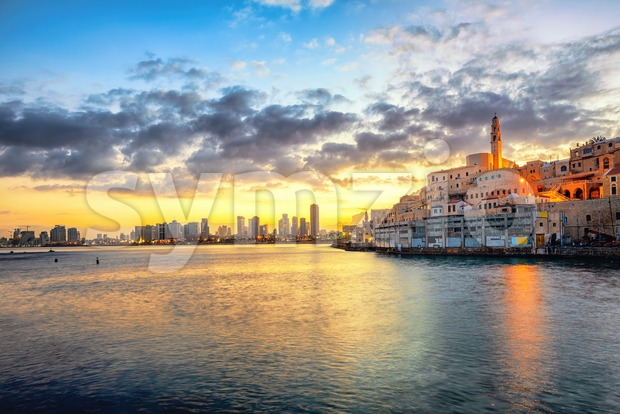 Jaffa Old Town and Tel Aviv skyline on sunrise, Israel Stock Photo