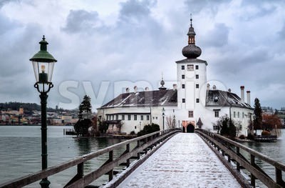 Church on a lake island in Gmunden near Salzburg, Austria Stock Photo