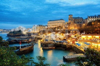 Biarritz Old Town, Basque Country, France, at night Stock Photo