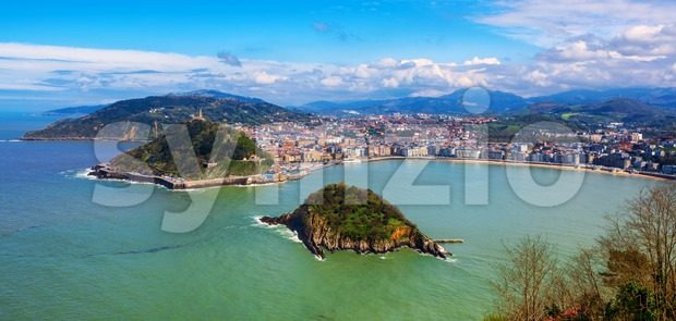 San Sebastian - Donostia city, Basque country, Spain, panoramic view of La Concha bay, Pyrenees mountains and Atlantic ocean