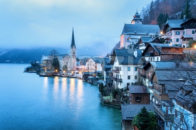 Hallstatt, Salzkammergut, Austria, in misty morning light. UNESCO World Culture Heritage site near Salzburg. Stock Photo