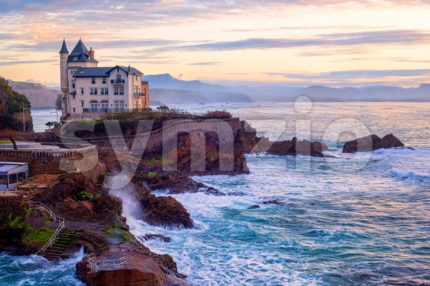 Biarritz, France, Basque coast in dramatic sunset light Stock Photo