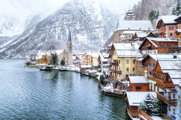 Hallstatt by Salzburg, Austria, traditional austrian wooden town, UNESCO world culture heritage site Stock Photo