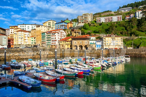 Colorful houses in Mutriku port and Old town, Basque country, Spain Stock Photo