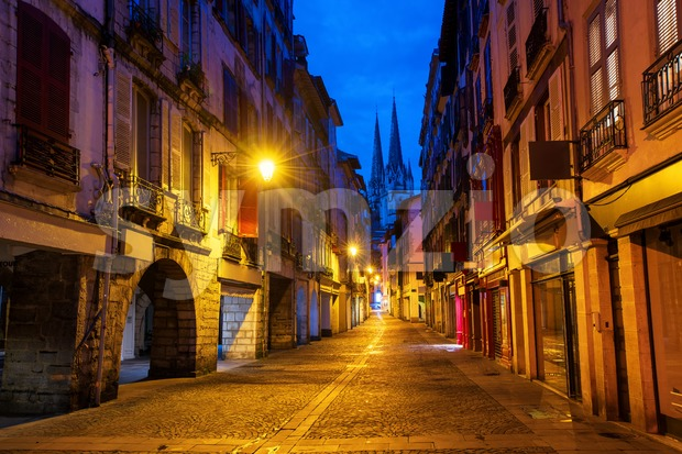 Bayonne Old Town center at early morning, France Stock Photo