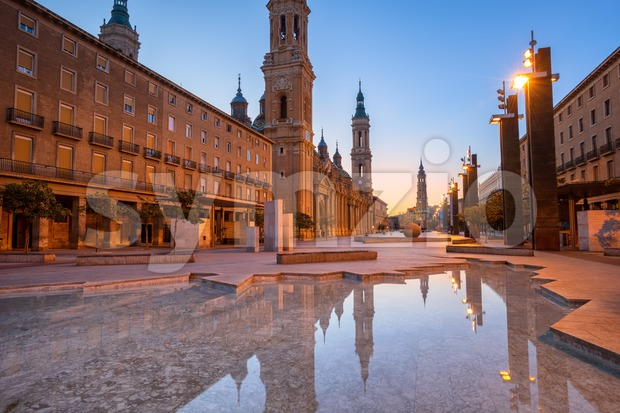 Zaragoza Old Town with Basilica del Pilar Cathedral towers on sunrise, Spain