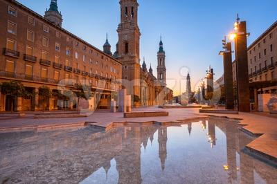 Zaragoza city in early morning light, Spain Stock Photo