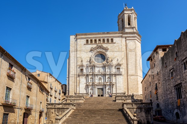 The medieval Cathedral of Saint Mary of Girona, Catalonia, Spain Stock Photo