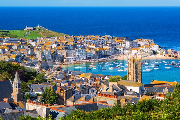 St Ives, a popular seaside town and port in Cornwall, England Stock Photo