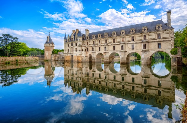 Chenonceau Castle in Loire Valley, France, panoramic view Stock Photo