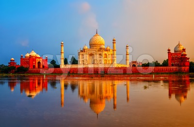 Taj Mahal, Agra, India, on sunset Stock Photo