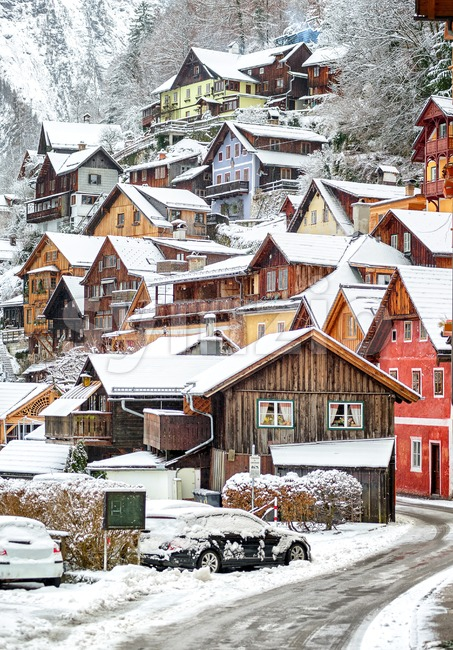 Wooden houses in Hallstatt, austrian alpine village by Salzburg, Austria