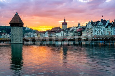 Lucerne, Switzerland, Old Town on dramatic sunset Stock Photo