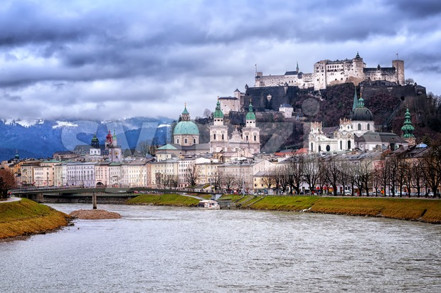 Salzburg in the Alps mountains, Austria, panoramic view in the early morning light