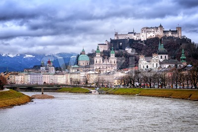Salzburg in the Alps mountains, Austria, panoramic view in the early morning light Stock Photo