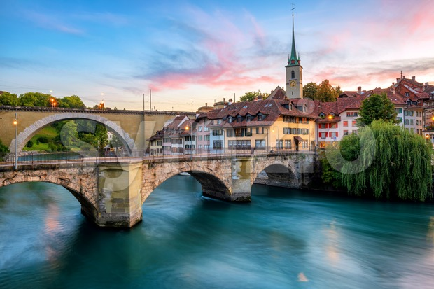 Historical Old Town of Bern city on dramatic sunset, Switzerland Stock Photo