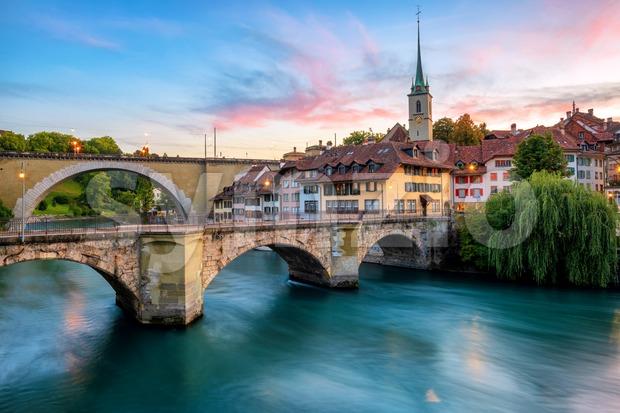 Historical Old Town of Bern city on dramatic sunset, Switzerland Stock Photo