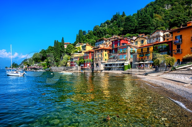 Colorful houses on a beach in Varenna, a famous resort town on Lake Como, Italy