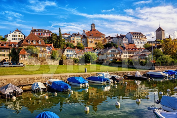 Historical buildings in picturesque medieval Old Town of Murten on Lake Morat, Switzerland