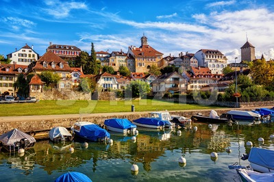 Picturesque medieval Old Town of Murten on Lake Morat, Switzerland Stock Photo