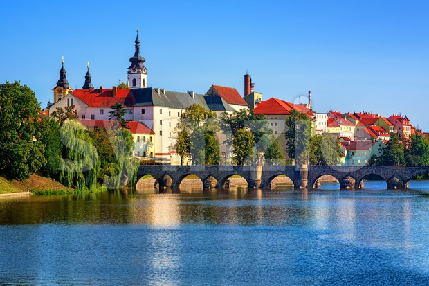 Historical Pisek Old Town, Czech Republic, with stone Old Bridge, Pisek Castle and St Mary Church
