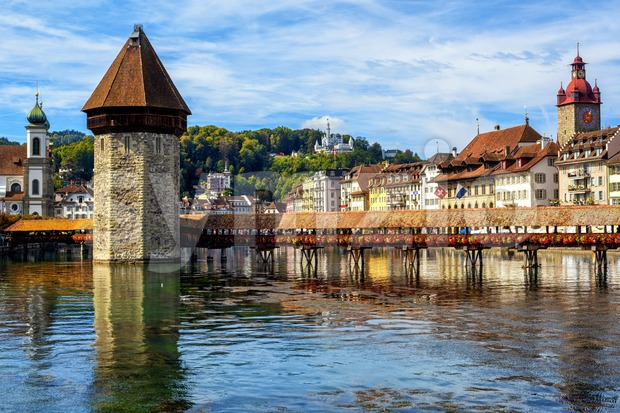 Wooden Chapel bridge and historical Lucerne Old Town, Switzerland