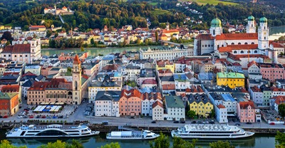 Passau Old Town between Danube and Inn rivers, Germany Stock Photo