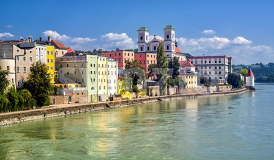 Colorful traditional houses on Inn river in historical old town Passau, Germany Stock Photo