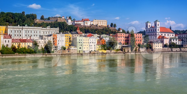Colorful traditional houses in historical old town Passau, Germany, situated on the junction of three rivers, Danube, Inn and Iltz. ...