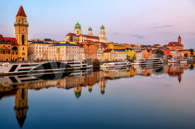 Historical Passau Old Town, Germany, in the evening. Passau is situated between Danube and Inn rivers, and is a popular ...