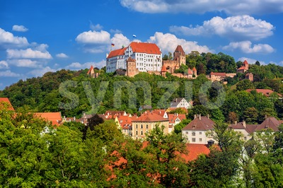 Landshut, historical Burg Trausnitz castle and Old Town, Bavaria, Germany Stock Photo