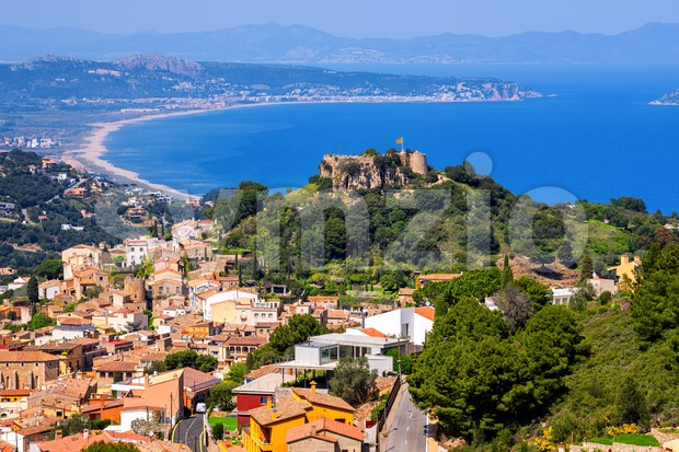Begur, Old Town and Castle overlooking Mediterranean Sea and the Pyrenees mountains. Begur is a popular resort on Costa Brava, ...