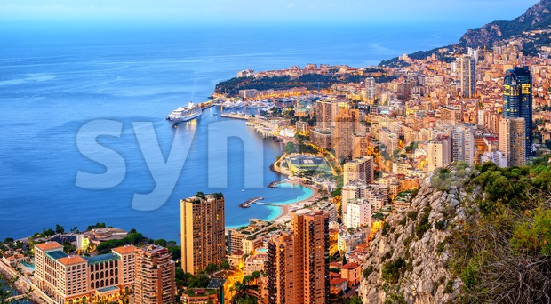 Panoramic view of Monaco and Monte Carlo on sunrise Stock Photo