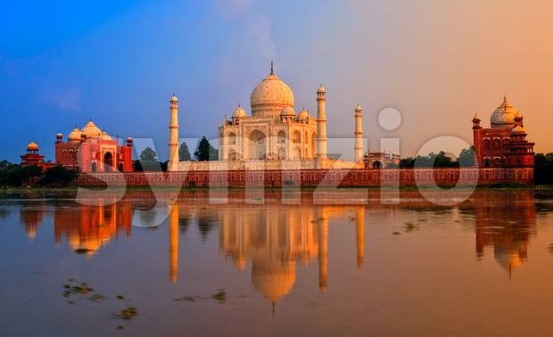 Taj Mahal, Agra, India, on sunset Stock Photo