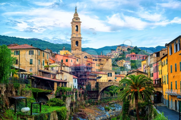 Dolcedo, picturesque medieval town in Maritime Alps mountain on Riviera by Imperia, Liguria, Italy