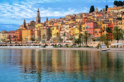 Colorful houses in the Old Town Menton, french Riviera, France Stock Photo